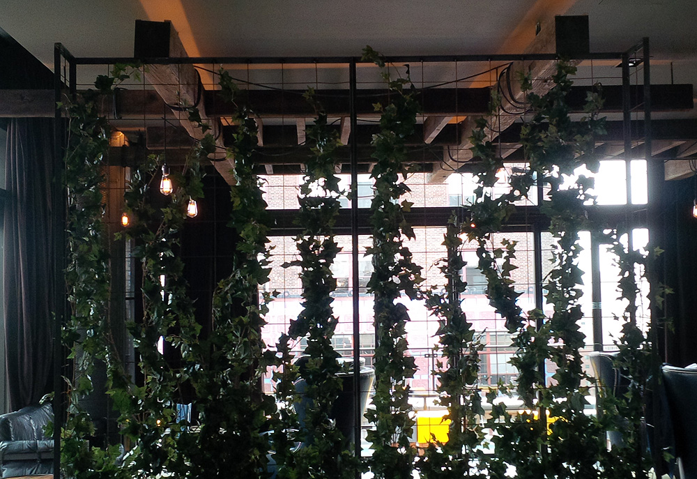 Flame retardant on synthetic foliage for New York City restaurant