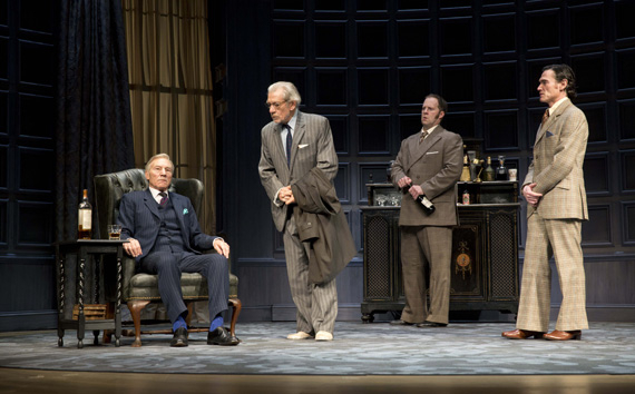 Patrick Stewart, Ian McKellen, Shuler Hensley, and Billy Crudup in No Man's Land. (© Joan Marcus)